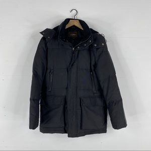 Cole Haan Mens Feather Down Hooded Jacket Leather